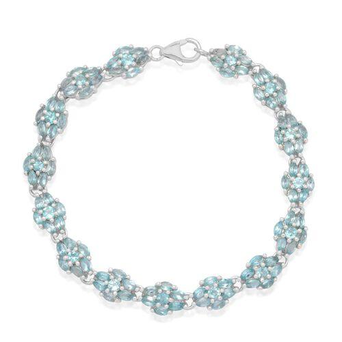 Paraibe Apatite (Rnd) Bracelet (Size 7.5) in Platinum Overlay Sterling Silver 7.500 Ct.