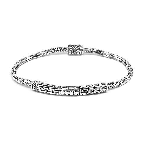 Designer Inspired Handcrafted Snake Weave Sterling Silver Bracelet (Size 7.5), Silver wt 12.33 Gms.