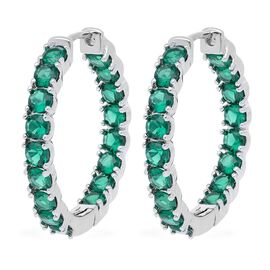 Simulated Emerald (Rnd) Inside Out Hoop Earrings (with Clasp Lock) in Silver Plated