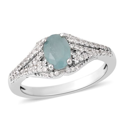 1.10 Ct Grandidierite and Zircon Classic Ring in Rhodium Plated Sterling Silver