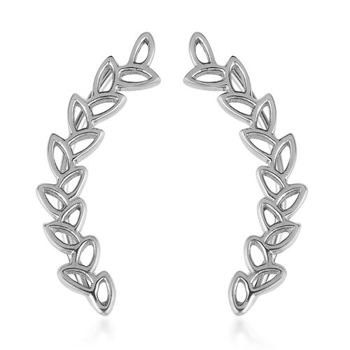 Vicenza Collection Platinum Overlay Sterling Silver Leaves Climber Earrings