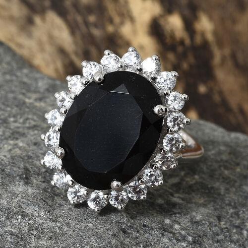 Black Tourmaline (Ovl 16x12 mm, 9.35 Ct), Natural Cambodian Zircon Sunburst Ring in Platinum Overlay Sterling Silver 11.250 Ct.