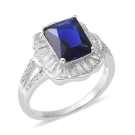ELANZA Simulated Blue Sapphire (Oct), Simulated Diamond Ring in Rhodium Overlay Sterling Silver