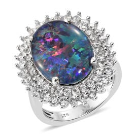 Boulder Opal Triplet (6.00 Ct),Cambodian Zircon Platinum Overlay Sterling Silver Ring  7.140  Ct.