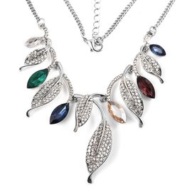 Multi Colour Simulated Diamond, White Austrian Crystal Necklace (Size 21 with 2 inch Extender) in Silver Tone