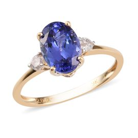 9K Yellow Gold Tanzanite and White Diamond Ring 2.13 Ct.