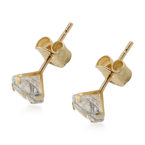 One Time Close Out Deal-  J Francis -  9K Yellow Gold Stud Earrings (with Push Back) Made with SWAROVSKI ZIRCONIA 1.00 Ct.