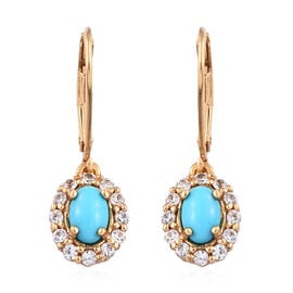 Arizona Sleeping Beauty Turquoise (Ovl 6x4 mm), Natural Cambodian Zircon Lever Back Earrings in 14K