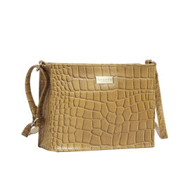 ASSOTS LONDON Susan Rectangle Croc Crossbody Bag with Adjustable Strap (Size 20x15x6cm) - Mustard