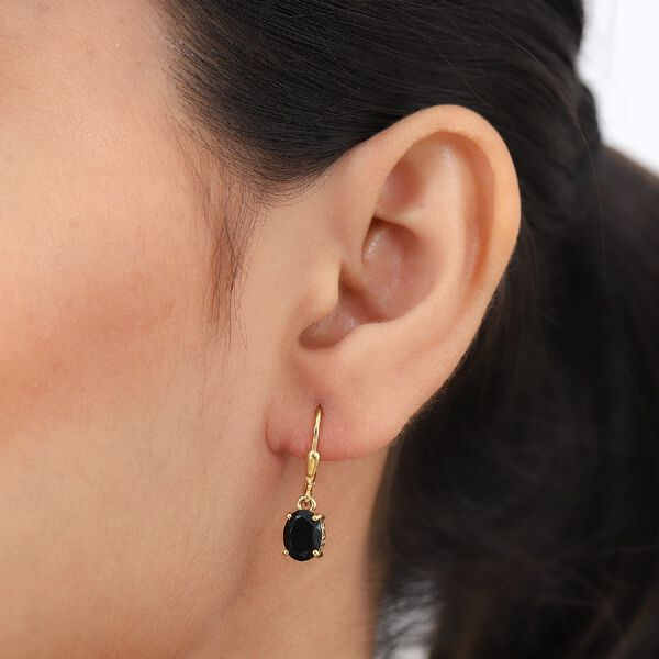 MP AA Boi Ploi Black Spinel (Ovl) Lever Back Earrings in 14K Gold Overlay Sterling Silver 3.260 Ct.