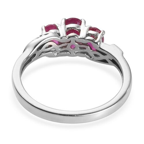 African Ruby Ring in Platinum Overlay Sterling Silver 1.300  Ct.