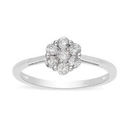 9K White Gold SGL Certified White Diamond (I3/G-H)  Pressure Set Floral Ring 0.50 Ct.