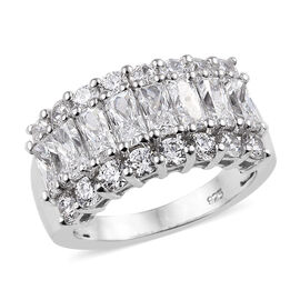 J Francis Made with Swarovski Zirconia Cluster Ring in Sterling Silver 5.41 Grams