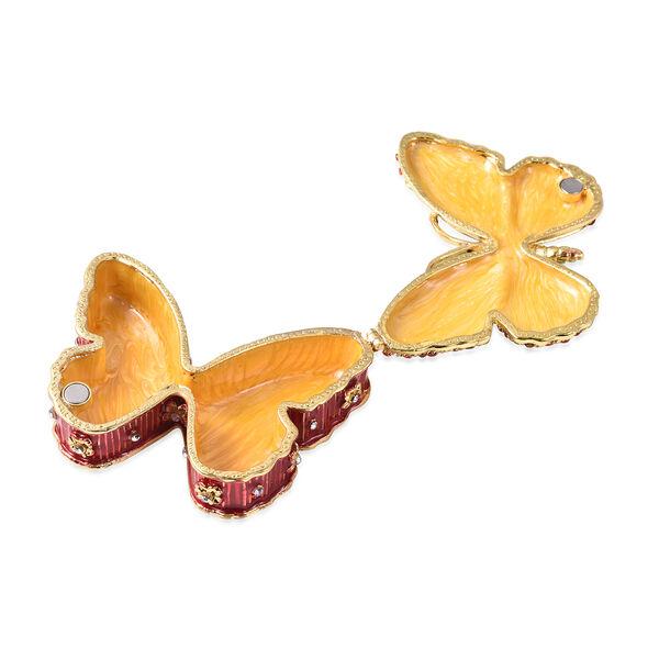Doorbuster Austrian Crystal, Enameled Butterfly Trinket Jewelry Box in Dualtone (3 in)