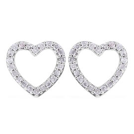 9K White Gold SGL Certified Diamond (Rnd) (I3/G-H) Heart Earrings (with Push Back) 0.20 Ct.