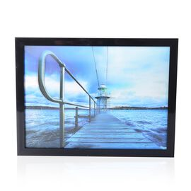 Home Decor - 3D Lake View Painting with MDF Wooden Photo Frame (Size 39x29x2.8 Cm)