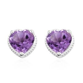 Rose De France Amethyst (Hrt 8 mm) Stud Earrings (with Push Back) in Sterling Silver 3.250 Ct.