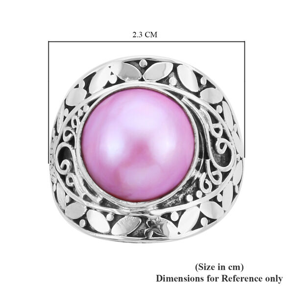Royal Bali Collection - Pink Mabe Pearl Ring in Sterling Silver, Silver wt 5.75 Gms