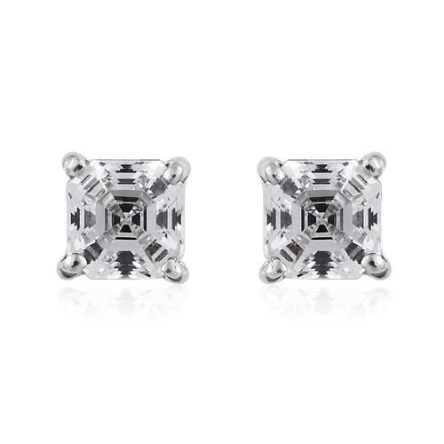 J Francis - 9K White Gold (Asscher Cut) Stud Earrings (with Push Back) Made with SWAROVSKI ZIRCONIA