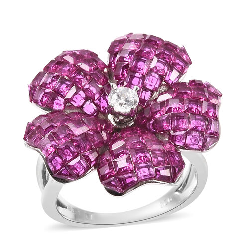 Lustro Stella - Mystery Setting Simulated Ruby and Simulated Diamond Floral Ring in Rhodium Overlay
