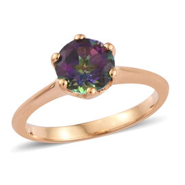 Coated Mystic Topaz (1.50 Ct) 14K Gold Overlay Sterling Silver Ring  1.500  Ct.