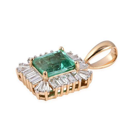 WEBEX- ILIANA 18K Y Gold AAA Boyaca Colombian Emerald (Oct 1.15 Ct), Diamond (SI/G-H) Pendant 1.750 Ct.