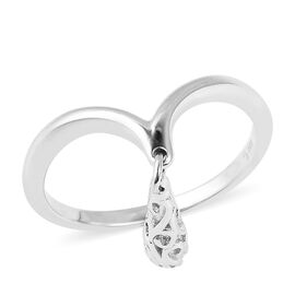 Lucy Q Single Air Drip Ring in Rhodium Plated Silver