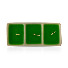 Green Candle in 3 Block White Ceramic (Size 2x16 Cm) - Lemon Aroma