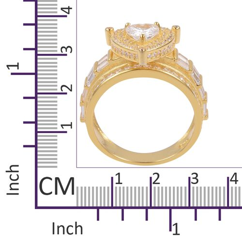 ELANZA Simulated White Diamond Ring in 14K Yellow Gold Overlay Sterling Silver, Silver wt 5.43 Gms.