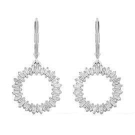 Designer Inspired- 9K White Gold SGL Certified Diamond (Bgt) (I3/G-H) Circle of Life Lever Back Earrings 1.000 Ct.