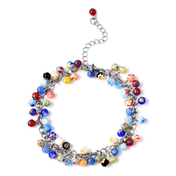 Multi Colour Murano Style Glass Beads Anklet (Size 9 with 2 inch Extender and Lobster Lock) in Stain