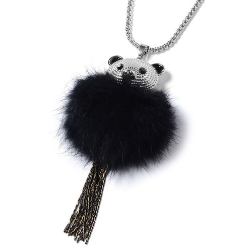 Black Austrian Crystal (Rnd) Pendant With Chain (Size 28 with 2.50 inch Extender) in Silver Plating.