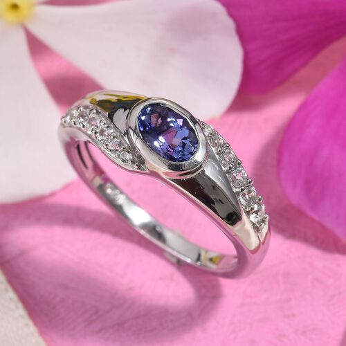 Tanzanite (Ovl 6x4mm), Natural Cambodian Zircon Ring in Platinum Overlay Sterling Silver 1.00 Ct.