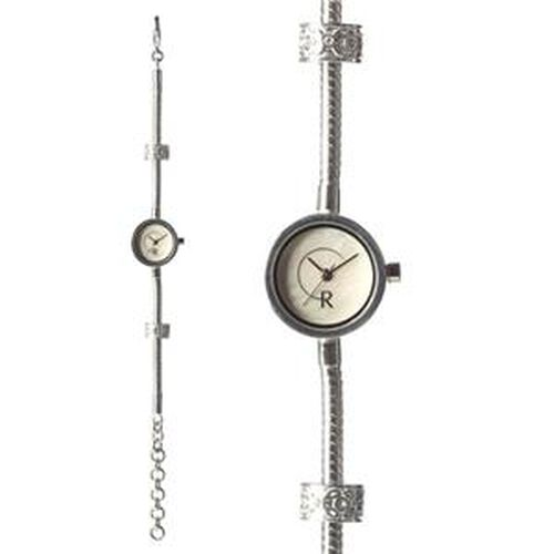 RACHEL GALLEY White Mother of Pearl Japanese Miyota 5030 Movement  5 Micron Silver Plating Snake Bracelet Timepiece in Swarovski Crystal
