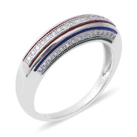 ELANZA Simulated Diamond (Rnd) Ring in Rhodium Overlay With Enamelling Sterling Silver