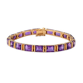 30.40 Ct Amethyst Tennis Bracelet in Yellow Gold Plated Sterling Silver 15.40 Grams 8 Inch