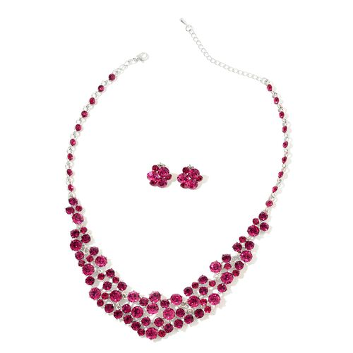Fuchsia Colour Austrian Crystal Necklace (Size 17 with 3 Inch Extender) and Earrings (with Push Back) in Silver Tone
