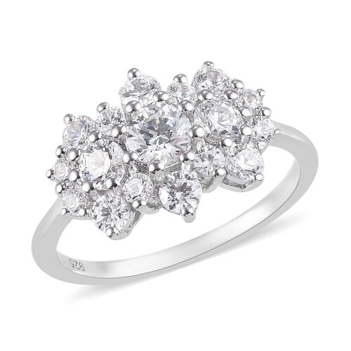 J Francis - Platinum Overlay Sterling Silver Cluster Ring Made with SWAROVSKI ZIRCONIA 2.33 Ct.