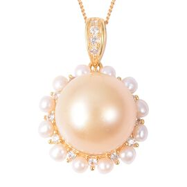 Golden South Sea Pearl Freshwater Pearl Halo Pendant with Chain in Gold Plated Sterling Silver