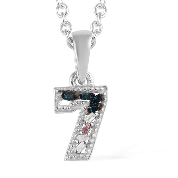 Blue and White Diamond Number Seven Pendant with Chain (Size 18) in Platinum Overlay Sterling Silver