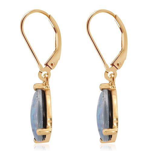 Australian Boulder Opal (Pear) Lever Back Earrings in 14K Gold Overlay Sterling Silver 2.750 Ct.