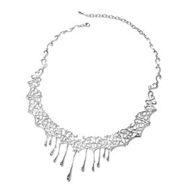 LucyQ Lace Collection Rhodium Overlay Sterling Silver Drip Necklace (Size 14.5 with 4 inch Extender)