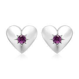 Purple Garnet (Rnd) Heart Stud Earrings (with Push Back) in Platinum Overlay Sterling Silver