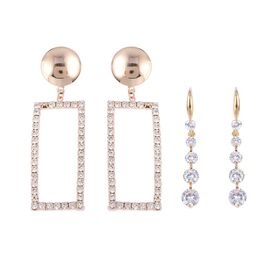 Set of 2 - Simulated Diamond (Rnd), White Austrian Crystal Earrings in Gold Tone