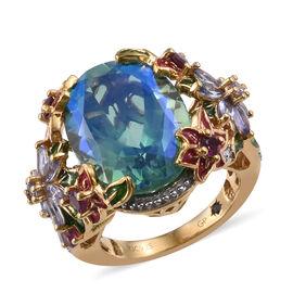 GP Peacock Quartz (Ovl 13.00 Ct), Tanzanite, Rhodolite Garnet and Kanchanaburi Blue Sapphire Ring in