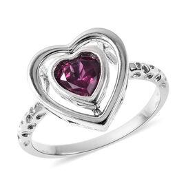 RACHEL GALLEY Rhodolite Garnet Heart Ring in Rhodium Overlay Sterling Silver
