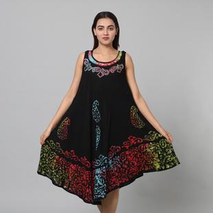 100% Viscose Paisley Pattern Tie Dye Women Dress (Size:100x128 Cm) - Black