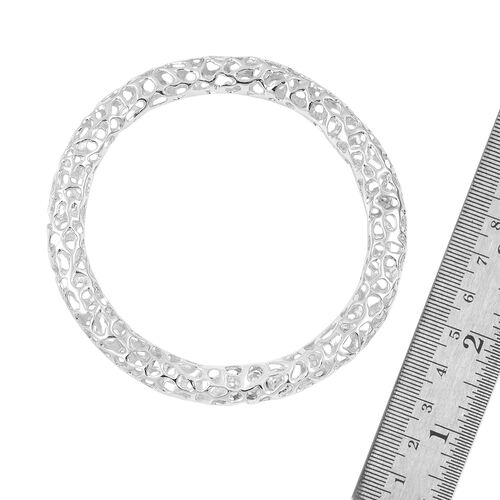 RACHEL GALLEY Rhodium Plated Sterling Silver Lattice Bangle (Size 7.5/ Small), Silver wt. 29.33 Gms.