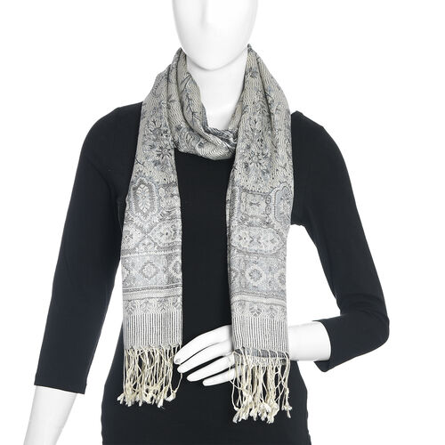 SILK MARK - 100% Silk Grey, Off White and Multi Colour Paisley and Floral Pattern Scarf (Size 180x70 Cm)