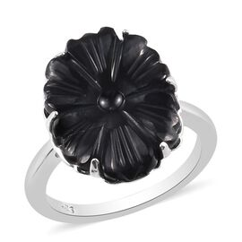 California Black Jade Floral Ring in Platinum Overlay Sterling Silver 5.50 Ct.